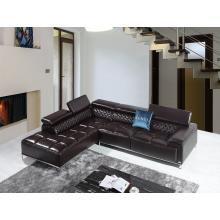 Divani Casa Citadel Modern Brown Leather Sectional Sofa w/ Audio System