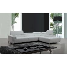 Divani Casa Citadel Modern White Eco-Leather Sectional Sofa w/ Audio System