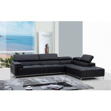 Divani Casa Citadel Modern Black Eco-Leather Sectional Sofa w/ Audio System