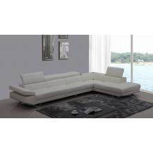 Divani Casa K8489 Modern White Leather Sectional Sofa w/ Audio System
