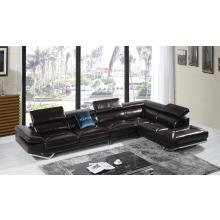 Divani Casa Quebec Modern Brown Italian Leather Sectional Sofa