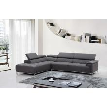 Divani Casa Citadel Modern Grey Eco-Leather Sectional Sofa w/ Audio System