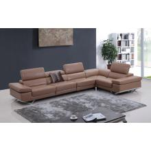 Divani Casa K8489 Modern Camel Italian Leather Sectional Sofa w/ Audio System