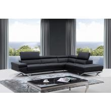Divani Casa Quebec Modern Black Eco-Leather Sectional Sofa