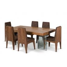 Modrest Aura - Contemporary Walnut Floating Table with Six Chairs Dining Set