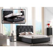 Modrest Zeus - Modern Black Leatherette Platform Bed with Lift Storage