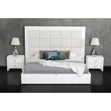 A&X Glam - White Crocodile Lacquer bed with Beige Faux Crocodile Leather Headboard