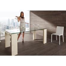 A&X Modern Stone Texture Glass Dining Table