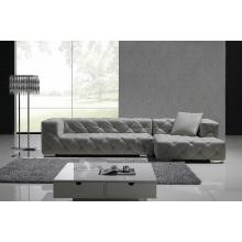 Divani Casa T163 - Full Leather Sectional Sofa With Tufted Acrylic Crystals