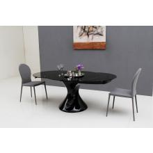 Modrest Savor Modern Round Extend-able Black Lacquer Dining Table