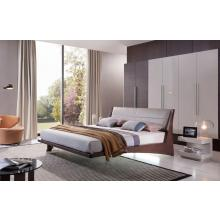 Modrest Volterra - Contemporary Floating Bed With Grey Headboard and Lights