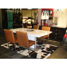 A&X 818 White High Gloss Dining Table with Extension