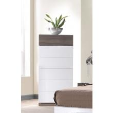 Modrest Soli Modern White w/Zebra Wood 6-Drawer Bedroom Chest