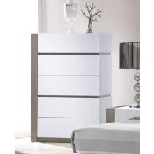 Modrest Vero Modern White w/Grey Accents 5-Drawer Bedroom Chest