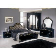 Modrest Judy - Italian Classic Black Bedroom Set (Gold Fabric Headboard)