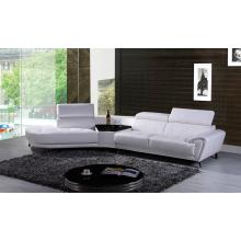 Divani Casa Raizel Modern White Leather Sectional Sofa w/ Left Facing Chaise