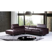 Divani Casa Wisteria Modern Brown Leather Sectional Sofa w/ Left Facing Chaise
