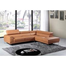 Divani Casa Wisteria Modern Camel Leather Sectional Sofa w/ Right Facing Chaise