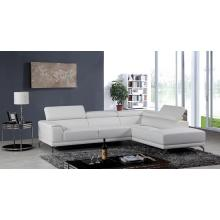 Divani Casa Wisteria Modern White Leather Sectional Sofa w/ Right Facing Chaise