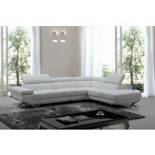 Divani Casa Quebec Modern White Eco-Leather Sectional Sofa