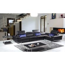 Divani Casa K8489 Modern Black Leather Sectional Sofa w/ Audio System