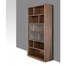 Modrest Lincoln Modern Walnut and Brown Leatherette Bookcase
