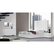 Modrest Lyrica - White Leather Tall Headboard Bed with Storage