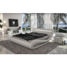 Modrest Corsica - Contemporary White Leatherette Bed with Headboard lights