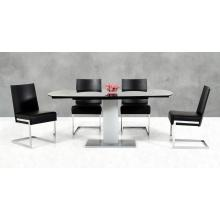 Modrest Obsidian Modern Black and Silver Extendable Dining Table
