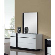 Modrest Oxford Modern White And Black Glossy Dresser w/ Mirror
