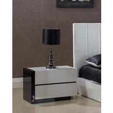 Modrest Oxford Modern White And Black Glossy Nightstand
