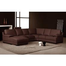 Divani Casa 2227 - Modern Brown Leather Sectional Sofa