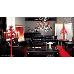 A&X Ermine Leather Black Sofa Set - 021
