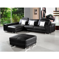 Divani Casa T957 - Modern Black Leather Sectional Sofa