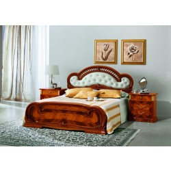 Milady Italian Bed with Leather Headboard