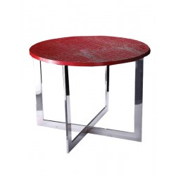 A&X Flair Modern Red Crocodile End Table