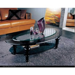 A&X Manor - Ellipse Black Crocodile Coffee Table