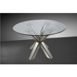 Modrest Hancock - Transitional Mirrored Round Glass Dining Table