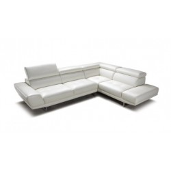 Divani Casa Petunia - White Leather Sectional Sofa with retractable Headrests