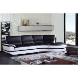 Divani Casa Rapture Modern Black and White Eco-Leather Sectional Sofa