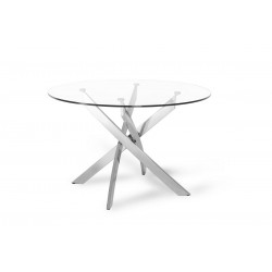 Modrest Spark Modern Clear Glass Circular Dining Table