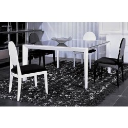 A&X White Lacquer Table with Black Glass Top AA 816-150