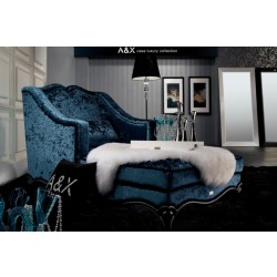 A&X AW221-160 Teal Fabric Chaise Lounge