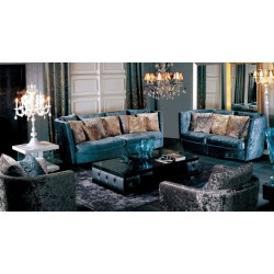 A&X Velvet Fabric Sofa Set with Pillows - 005