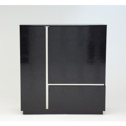 A&X Skyline - Modern Black Crocodile Lacquer Square Buffet