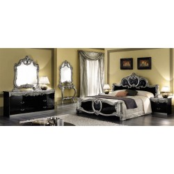 Barocco Black Traditional Italian 5-Piece Bed Set in Queen Only