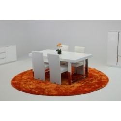 A&X Skyline White Crocodile Extendable Dining Table