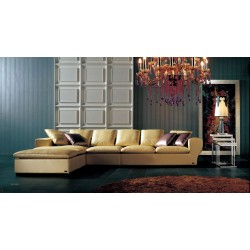 A&X Belvedere Champagne Full Leather Sectional Sofa