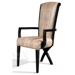 A&X Transitional X Leg Crocodile Leatherette Dining Arm Chair