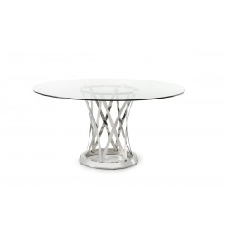 Modrest Gallo Modern Round Glass Dining Table